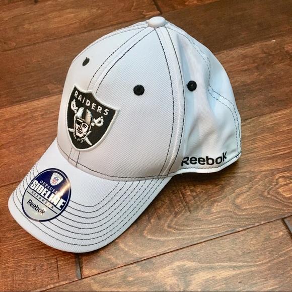 Raiders NFL Sideline Reebok White Baseball Hat e4991bf100d
